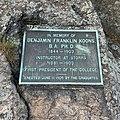 Commemorative plague for University of Connecticut president Benjamin Franklin Koons.jpg