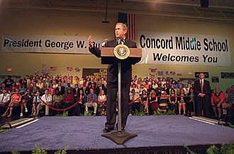 Cabarrus County Schools - President George W. Bush giving a speech at Concord Middle School in 2001.