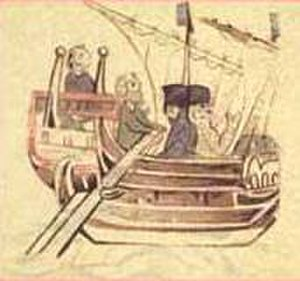 Conrad of Montferrat - Conrad arrives at Tyre: marginal sketch in late 12C Brevis Historia Regni Hierosolymitani, a continuation of the Annals of Genoa (Bib. Nat. Française)
