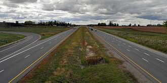 Ontario Highway 402 - Highway 402 has a wide grass median separating the carriageways for the majority of its length.