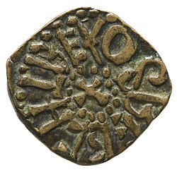 Copper alloy styca of King Osberht (YORYM 2001 3265) obverse.jpg