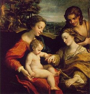 Mystic Marriage of Saint Catherine (Correggio) - The Mystic Marriage of St. Catherine. Panel's height 1.05m. width 1.02m.