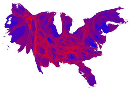 Cartogram of popular vote by county shaded on a scale from red/Republican to blue/Democratic where each county has been rescaled in proportion to its population