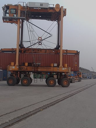 Port of Mongla - Straddle carrier at work in Mongla