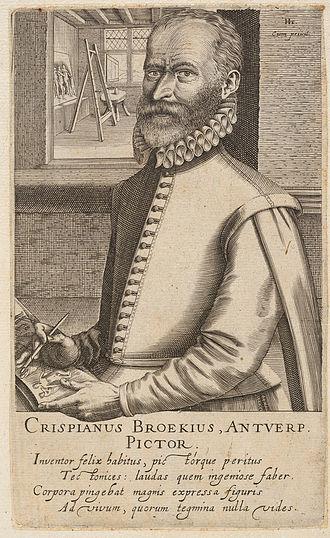 Crispin van den Broeck - Portrait, engraved by Hendrik Hondius, 1618
