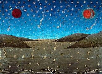 "Cristoforo de Predis - Death of the Sun, Moon and Stars Falling by Cristoforo de Predis, illustration from 'Stories of St. Joachim, St. Anne, ... "", Royal Library of Turin"