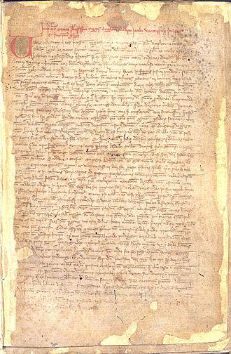 Llibre dels fets - 1313 Latin translation of the Llibre dels Fets, the Cronice Illustrissimi Regis Aragonum by Friar Pere Marsili following the order of James II of Aragon (grandson of James I of Aragon).