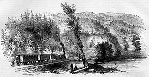 Main Line (Pennsylvania Railroad) - Crossing of the Alleghany, Pennsylvania Railroad, 1853 print