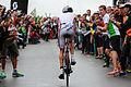 Crowds cheering Reto Stutz while climbing Heart Brake Hill at Ironman Switzerland 2014.jpg