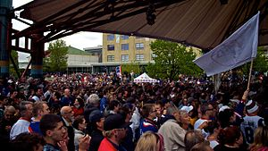 Winnipeg Jets - Crowds gather at The Forks in Winnipeg on May 31, 2011, for the official announcement that the Atlanta Thrashers would relocate to Winnipeg pending the approval of the NHL's Board of Governors.