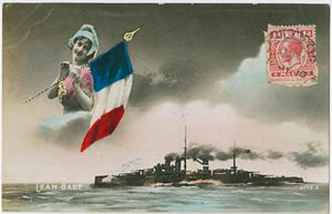 French battleship Jean Bart (1911) - Patriotic postcard featuring the Jean Bart posted from Malta (1915)