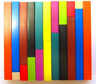 """Georges Cuisenaire - Cuisenaire rods in a """"staircase"""" arrangement"""