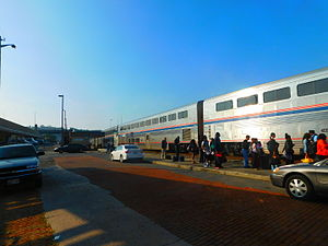 Cumberland station (Maryland) - Cumberland station in October 2015 with a Capitol Limited boarding.