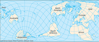 Cylindrical equal-area projection - Cylindrical equal-area projection with oblique orientation