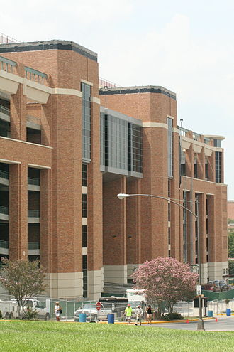 Darrell K Royal–Texas Memorial Stadium - Exterior facade of the new north end zone seating.