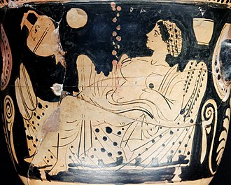 Danaë - Ancient Boeotian bell-krater showing Zeus impregnating Danaë in the form of a shower of gold, circa 450-425 BC