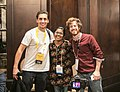 Daniel Bogre Udell and Freddie Andrade with Netha Hussain at Wikimania 2018.jpg