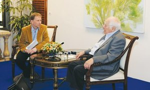 David Horovitz - David Horovitz (left) interviewing Bernard Lewis for The Jerusalem Post in 2011.