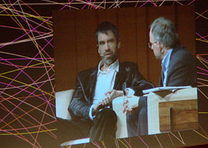 David Orrell - David Orrell (left) speaking with Robert Matthews at the Art Center Global Dialogues, Barcelona, 2008