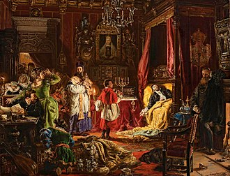 History of Poland in the Early Modern era (1569–1795) - Death of Sigismund II Augustus at Knyszyn (on 6 July 1572, the end of the Jagiellon dynasty rule), by Jan Matejko