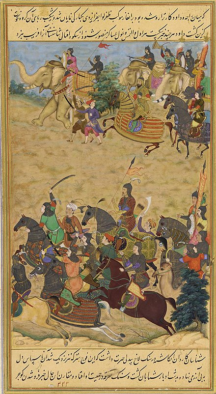 Akbar leads his army into battle against Daud Khan Karrani, the last Sultan of Bengal Defeat of the last Bengal Sultan by Akbar.jpg
