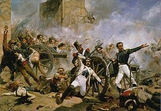 Schilderij van heftige gevechten tijdens de opstand