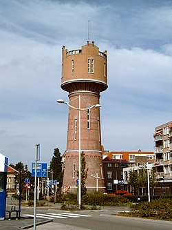 Den Helder water tower in the village