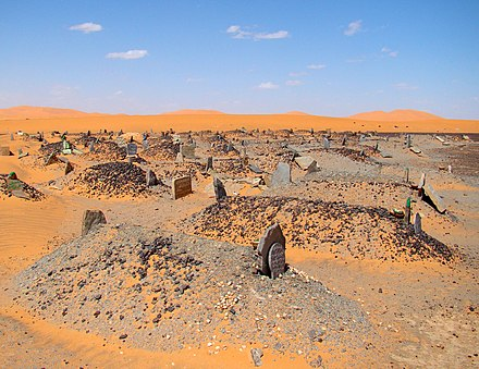 A Muslim cemetery in Sahara, all graves point across the desert placed at right angles to Mecca Desert Cemetery Merzouga.jpg
