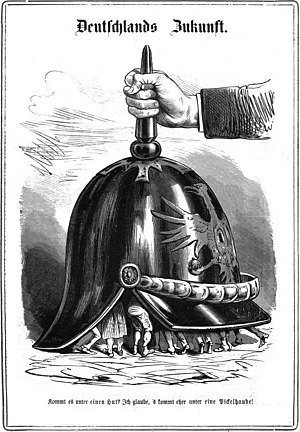 """Founding of the German Empire - Germany's Future, 1870. A caricature found in the Austrian satirical magazine Kikeriki with the caption: """"Does it come under a hat? I think it's more like a pimple!""""."""