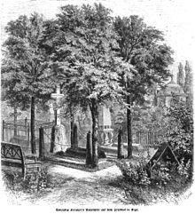 Conradin Kreutzers Ruhestätte auf dem Friedhof in Riga (DieGartenlaube, 1868) (Quelle: Wikimedia)