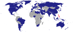Foreign relations of the Philippines - The Philippines (in red) has embassies in various nations (in blue).