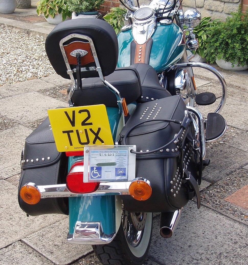 Disabled Parking Badge on Harley-Davidson