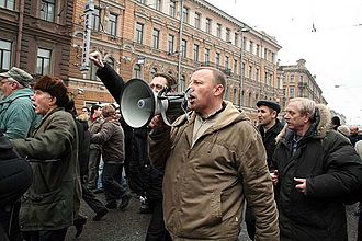 Dissenters' March - Sergey Gulyayev with a megaphone.