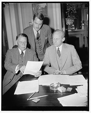 Blanton Winship - Governor Winship (left) meeting with Virgin Islands governor Lawrence W. Cramer (standing) and Senator Millard Tydings, before the Senate's Territories and Insular Affairs Committee met to consider legislation for U.S. Territories in April, 1938
