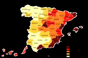 Distribución de la población extranjera en España (2005)