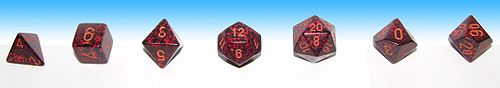 Full set of matching dice used in roleplaying: a d4, d6, d8, d12, d20, and two d10s for percentile: ones and tens.