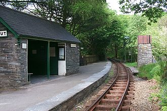 Dolgoch railway station - Dolgoch station, looking east