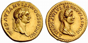Domitia Longina - Roman aureus minted in 83 during the reign of Domitian. Domitia appears on the reverse with the honorific title Augusta.
