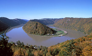 EV6 The Rivers Route - The Donauschlinge, in Upper Austria, where the Danube does a hairpin bend.