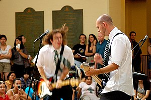 Draco and the Malfoys - From left to right: Bradley Mehlenbacher and Brian Ross during a performance at Los Angeles Public Library in Los Angeles, California in July, 2006.
