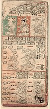 Page 9 of the Dresden Codex showing the classic Maya language written in Mayan hieroglyphs (from the 1880 Förstermann edition)