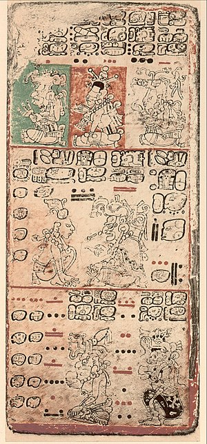 Mesoamerican literature - A page of the Precolumbian Mayan Dresden Codex