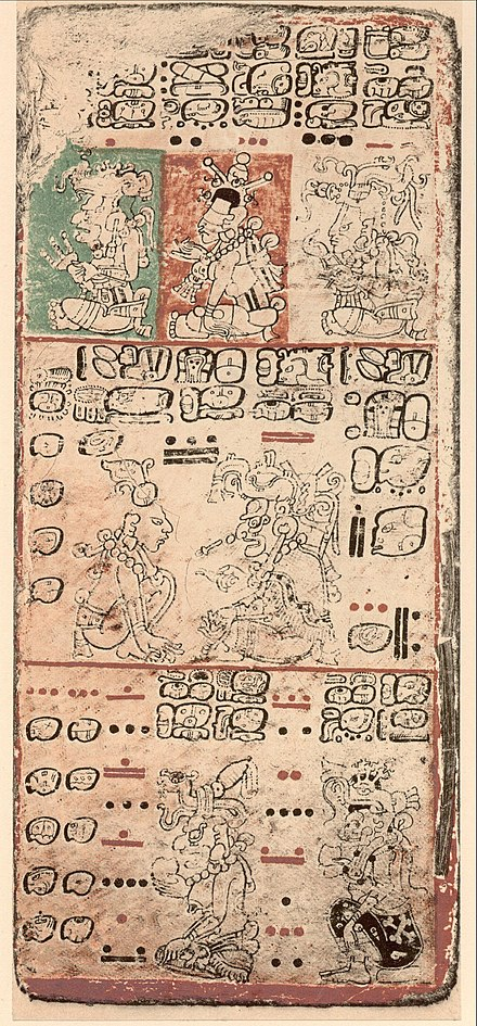 Dresden Codex, Maya, circa 11th or 12th century Dresden Codex p09.jpg