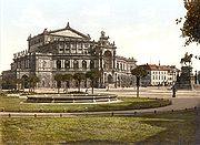 The Semperoper, the Dresden state opera house, in 1900. It was destroyed during the bombing, but was rebuilt, opening exactly 40 years later, on February 13, 1985, marking its opening with the same opera that was last performed before its destruction, Der Freischütz by Carl Maria von Weber.