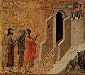 Road to Emmaus appearance - Jesus and the two disciples On the Road to Emmaus, by Duccio, 1308-1311,  Museo dell'Opera del Duomo, Siena.