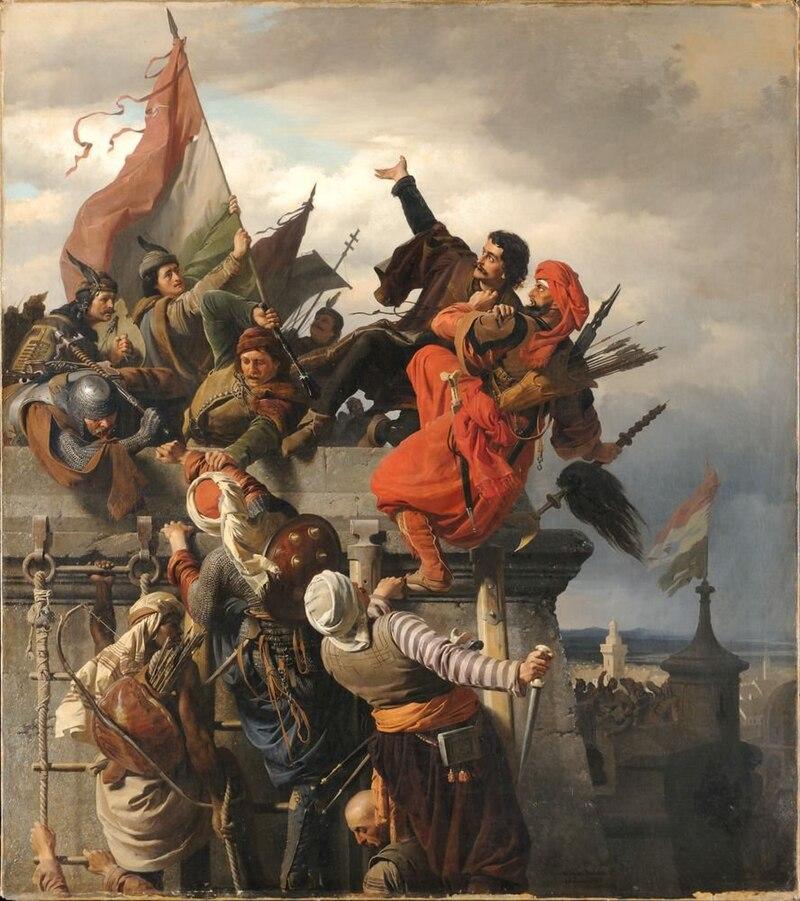 """Wagner Sándor: Dugovics Titusz önfeláldozása. Dugovics """"mivel sehogy sem tudta megakadályozni, hogy a toronyra kitűzze a jelvényt, átnyalábolta a törököt, és a magasból a mélybe leugorva, magával rántotta."""" (Antonio Bonfini)"""