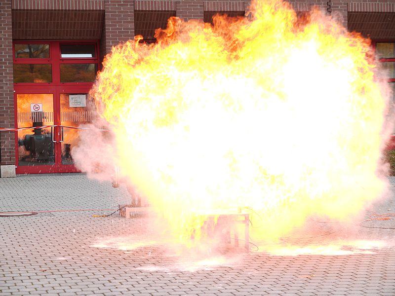 File:Dust explosion 03.jpg Description Deutsch: Staubexplosion, Serienaufnahme; Mehlstaub wird mittels Druckluft im Trichter aufgewirbelt und mit Sprengzünder gezündet. English: Dust explosion, continuous shooting; flour-dust is dispersed by compressed air and ignited by a detonator.