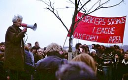 E P Thompson at 1980 protest rally.JPG