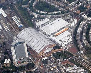 Earls Court Exhibition Centre - Aerial view of Earl's Court, 2008 L-R Empress State Building, Earl's Court Two and Earls Court