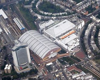 Earls Court Exhibition Centre - Aerial view of Earls Court, 2008 L-R Empress State Building, Earl's Court Two and Earls Court
